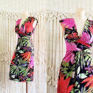 {euc} cache Botanical Print Stretch V Neck Dress